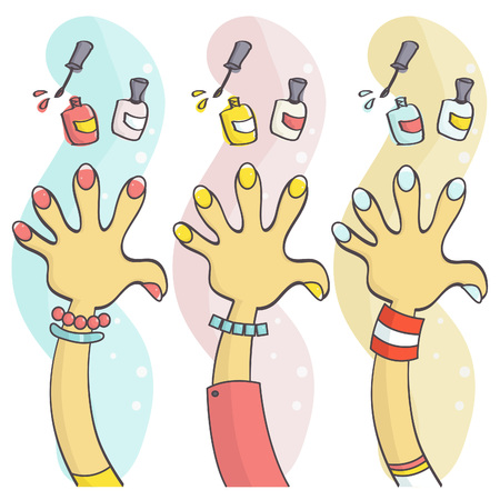 manicurist: Colorful set of hands with polished fingernails and nail polish. Vector collection of funny, stylish manicure, beauty concept. Illustration