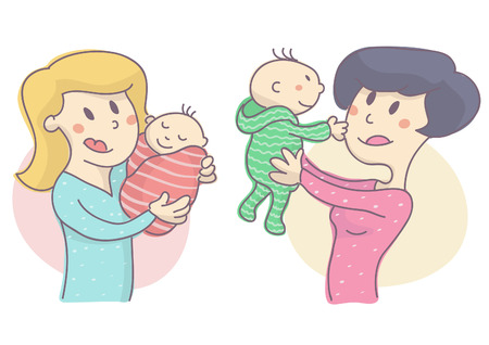 Young woman holding baby, set of two characters. Mother with small child, vector illustration on white background.