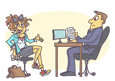 Ilustracja kreskówka z niechlujną młodą kobietą na rozmowie kwalifikacyjnej, jedzącą kanapkę, ubierającą brudną i pomarszczoną odzież, zachowującą się niegrzecznie i nieprofesjonalnie.