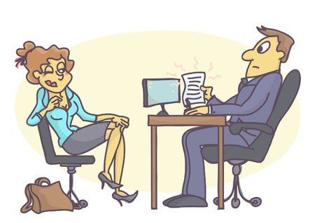 Funny vector cartoon of young trainee woman seducing personnel manager, bad and unprofessional behavior at job interview. Ilustracja