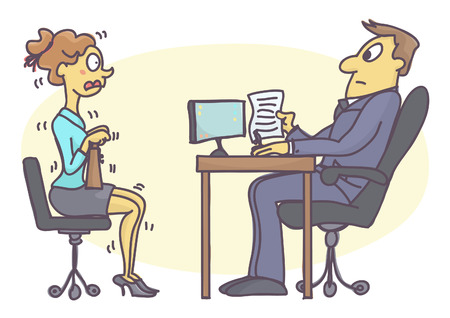 trembling: Young woman numbed with fear at job interview. Funny vector cartoon with intern girl scared of talking to personnel manager.