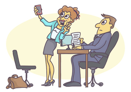 Funny carton of woman acting inappropriate and unprofessional at job interview, fooling around, making a selfie picture with mobile phone. Çizim