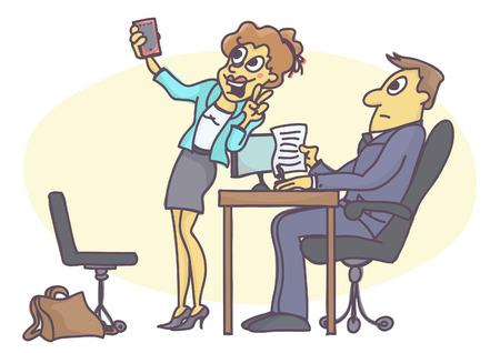 Lustige Karton der Frau handeln unangemessen und unprofessionell bei Vorstellungsgespräch, herumtollen, ein Selbstbild mit Handy machen.