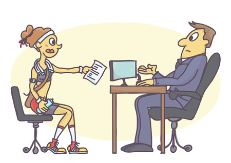 Funny vector cartoon of young woman dressed inappropriate for job interview. Intern girl talking to personnel manager in sportswear.