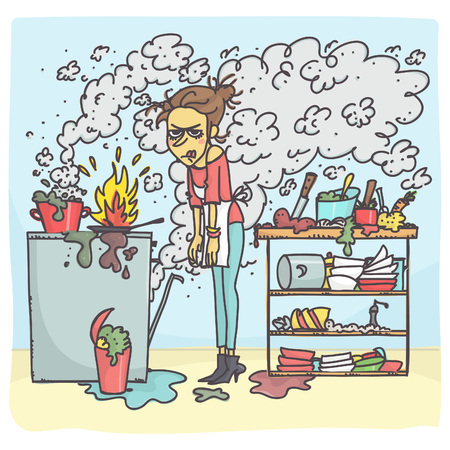 Cartoon illustration of stressed woman cooking in messy kitchen illustration.