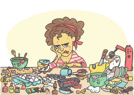 Depressed, sad and stressed woman sitting at messy table full with pastries items and ingredients illustration.