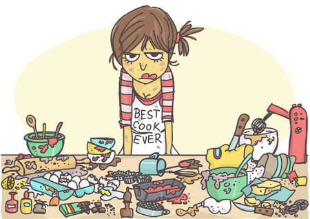Angry, stressed woman making a cake at the messy table full with pastries items and ingredients Imagens - 82516322