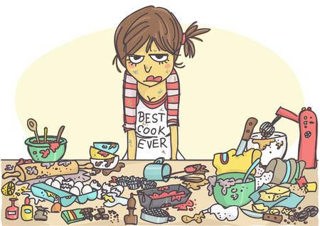 Boze, gestreste vrouw die een cake maakt aan de rommelige tafel vol met gebakjes en ingrediënten