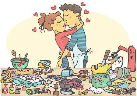 Woman and man kissing while making pastries, messy table full with cake items and ingredients.