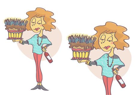 Mujer sosteniendo un pastel de cumpleaños con muchas velas y botellas de vino tinto.
