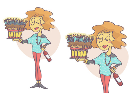 Woman holding a birthday cake with lot of candles and red wine bottle.