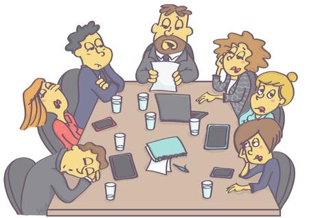 Wyczerpujące spotkanie biznesowe ze śpiącymi pracownikami i nudnym managerem lub szefem.