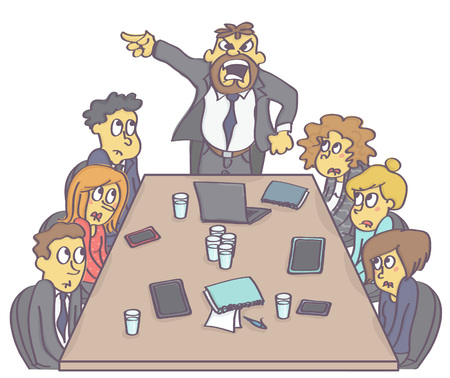 Spotkanie biznesowe z przestraszonymi pracownikami i agresywnym menedżerem lub szefem. Ilustracje wektorowe