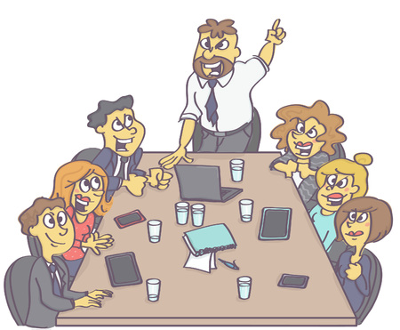 Motivating business meeting with manager or boss encouraging employees.  イラスト・ベクター素材