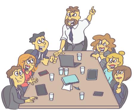Motiverende zakelijke bijeenkomst met manager of baas die werknemers stimuleert. Stock Illustratie