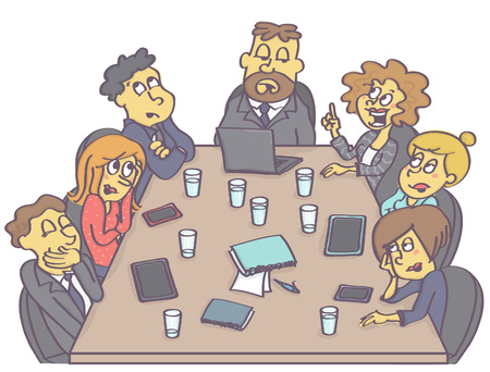 Business meeting with woman employee having a suggestion while coworkers are making fun of her. Illustration