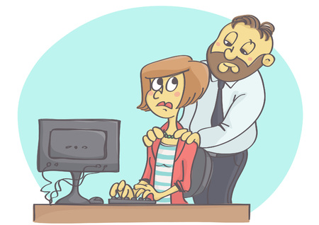 Cartoon illustration of manager or worker harassing female colleague at work