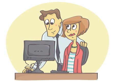 Manager or coworker helping woman on computer in the office flirting at job