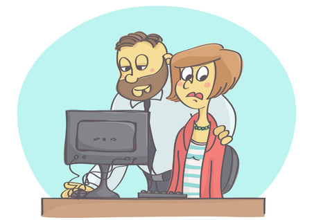 Cartoon illustration of boss or coworker harassing woman at work pretending to help Иллюстрация