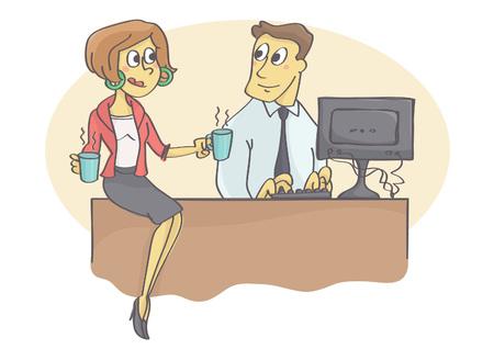 Vrouwelijke collega of manager brengen koffie aan mannelijke collega en flirten Vector Illustratie