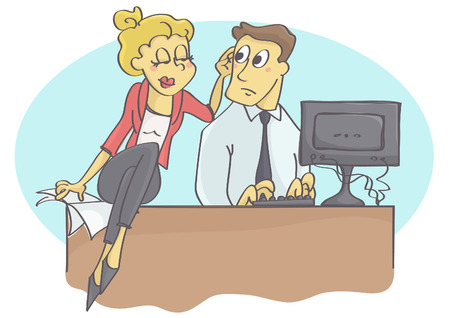 Woman manager or coworker harassing man at work by touching