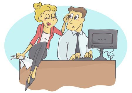 Kobieta kierownik lub coworker napastuje mężczyzna przy pracą dotykać Ilustracje wektorowe