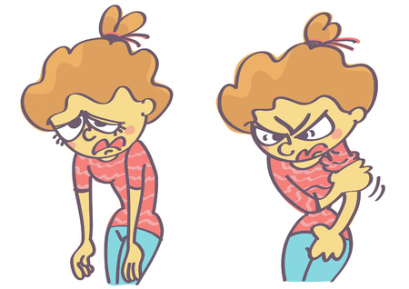 Vector cartoon illustration of tired, sad and mad girl preparing to fight. Illustration