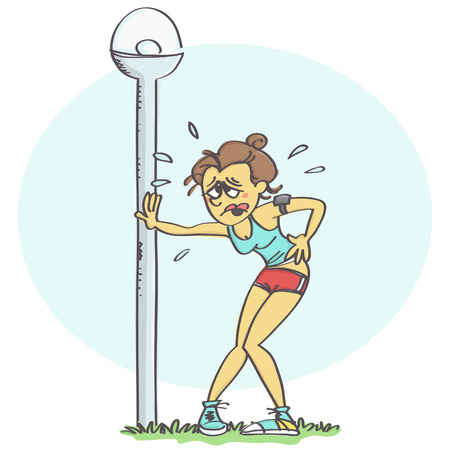 wasted: Cartoon vector with woman in sporty outfit leaning on street light, gasping for air after jogging. Illustration