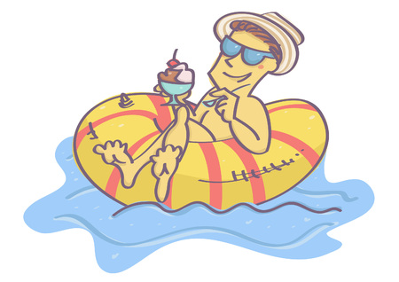 Funny vector cartoon with man lying on swim float, chilling and eating ice cream