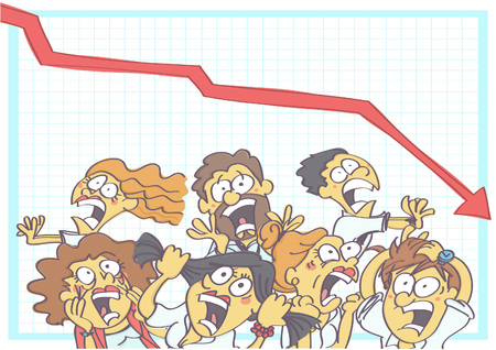 Funny vector cartoon with coworkers screaming, shouting and running in panic due to business fall