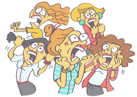 Funny vector cartoon with group of women in panic and horror