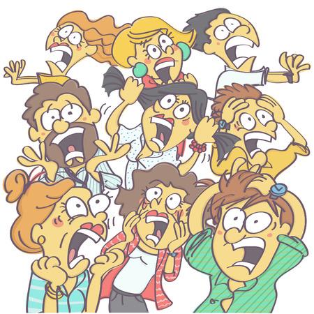 パニックと悲鳴を上げる人々 のグループでカラフルな面白いベクター カートン