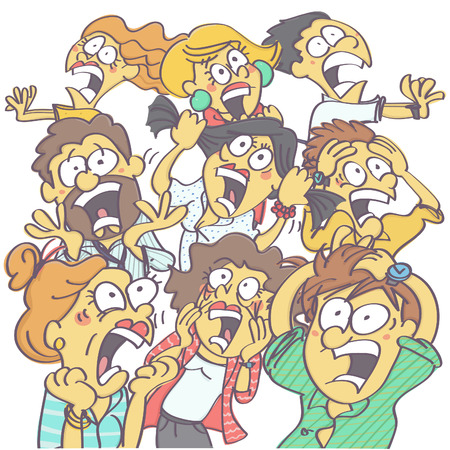 Colorful, funny vector carton with group of people panicking and screaming