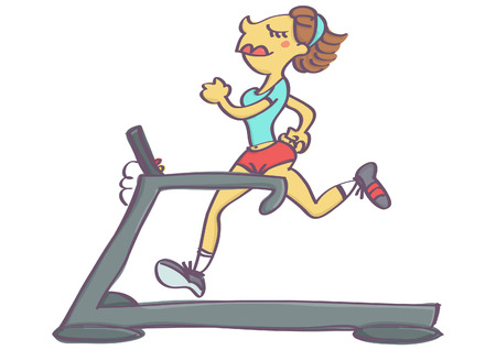 beginnings: Cute vector cartoon of woman jogging on running machine, isolated Illustration