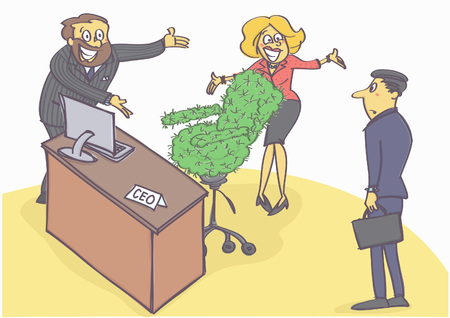 chief executive officer: Funny cartoon illustration with two managers welcoming new chief executive with cactus chair.