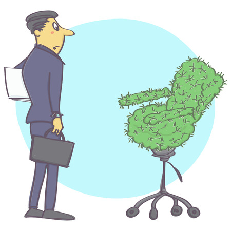 editorial: Vector cartoon illustration with office worker or manager and cactus chair.