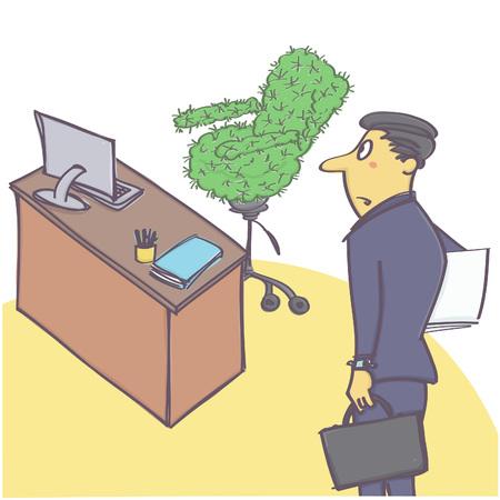 マネージャーまたはサボテン椅子が付いているオフィスに来る労働者とベクトルの漫画