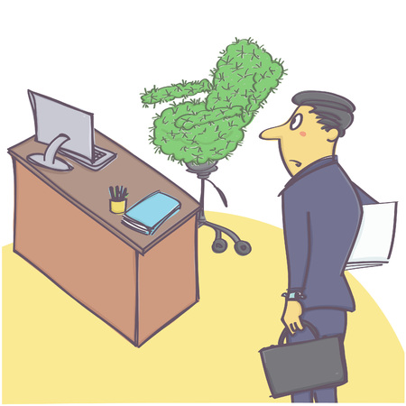 chief executive officer: Vector cartoon with manager or worker coming to office with cactus chair