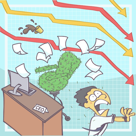 Funny cartoon illustration of manager or chief executive panicking and running from office with cactus chair, chart arrows in the background showing business downfall