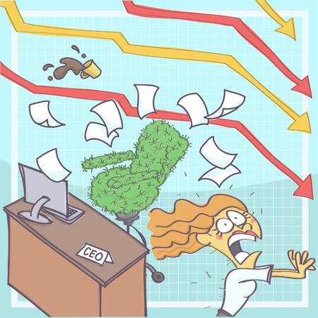 Funny cartoon illustration of business woman or chief executive panicking and running from office with cactus chair, chart arrows in the background showing business downfall