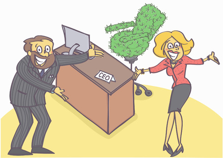 Humorous vector cartoon of two managers welcoming and offering chief executive position with cactus chair.