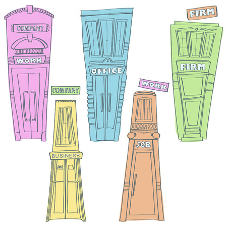 Cartoon vector collection of colorful business buildings, isolated on white background Illustration