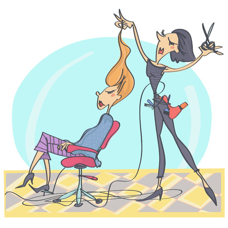 Colorful cartoon illustration with hairdresser and customer at salon
