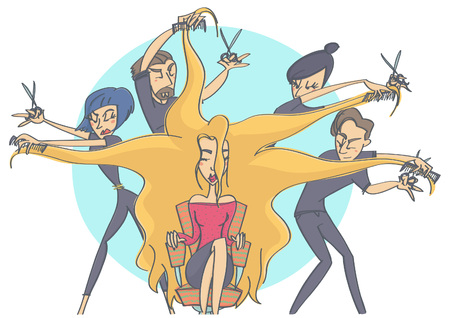 maestro: Colorful vector cartoon illustration with group of hairdressers making a hairdo on beautiful blonde model