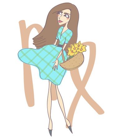 Horoscope hand drawn illustration of beautiful Virgo woman with zodiac symbol, isolated vector cartoon on white background