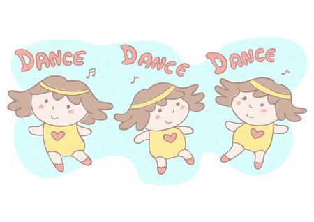 Cute vector cartoon illustration with set of three little girls dancing