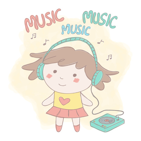 Colorful vector illustration with sweet little girl listening music on record player