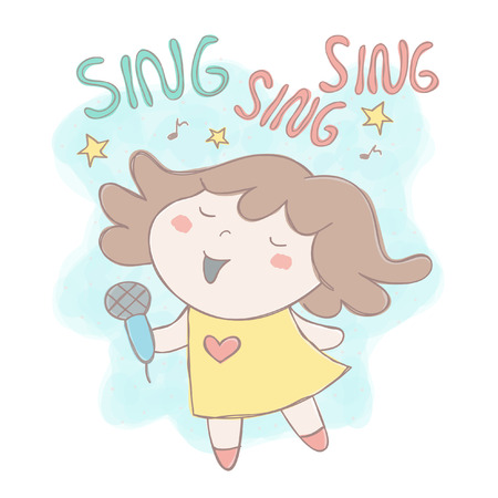 Hand drawn style vector illustration with adorable little girl singing