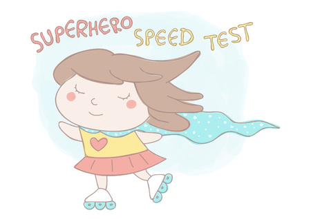 Cute vector hand drawn style illustration of sweet little girl with superhero cloak roller skating