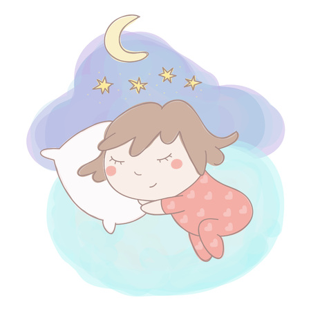 Adorable little girl sleeping, colorful hand drawn style vector illustration